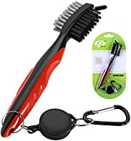 BOBLOV Golf Club Brush Retractable Clip with Spike Cover for Groove Shoes Cleaning Lightweight