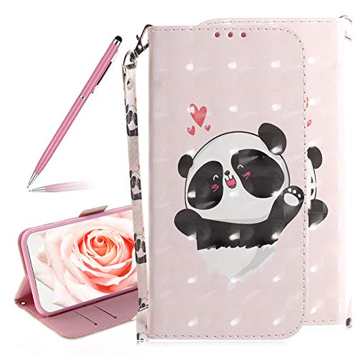 SKYXD 3D Colorful Painted Love Bear Pattern Soft PU Leather Case for Samsung Galaxy S10e, Luxury Shiny Flip Folio Wallet Magnetic Closure Kickstand Feature with Wrist Strap for Samsung Galaxy S10e