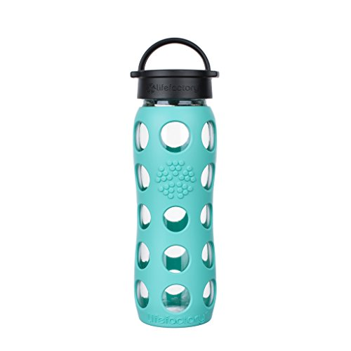 Lifefactory 22-Ounce BPA-Free Glass Water Bottle with Classic Cap and Protective Silicone Sleeve, Sea Green