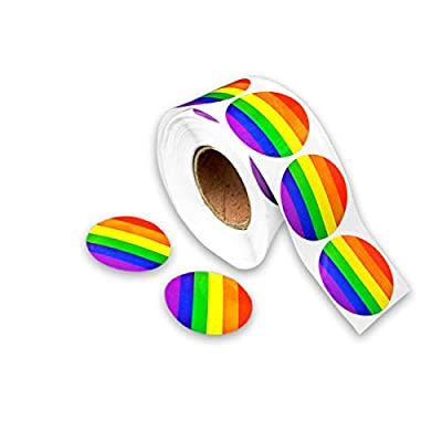 Round Rainbow Stripe Stickers (1 Roll - 500 Stickers): Toys & Games