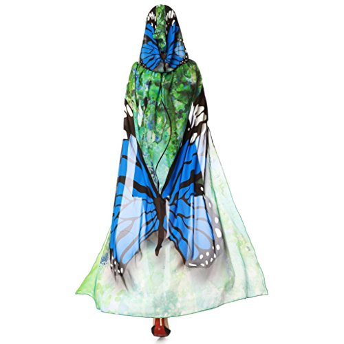 VESNIBA Women Novelty Print Chiffon Butterfly Wing Cape Scarf Peacock Poncho Shawl Wrap Costume Accessory (140x100CM, F-Blue)