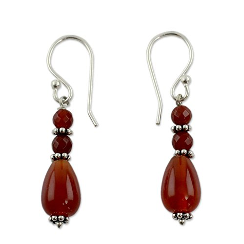 NOVICA Carnelian .925 Sterling Silver Beaded Dangle Earrings 'Vibrant Jaipur'