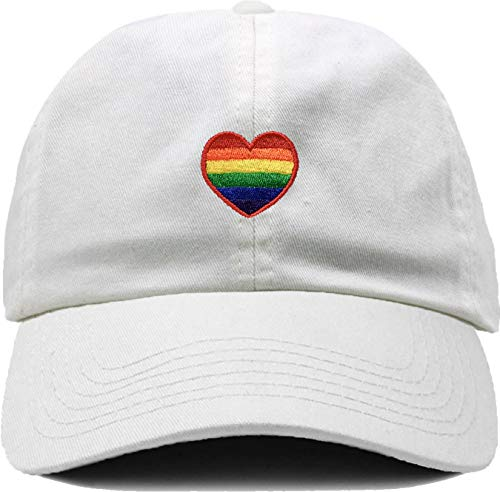 (H-214-RH09 Dad Hat Unconstructed LGBTQ Gay Pride Cap - Rainbow Heart WHITE)