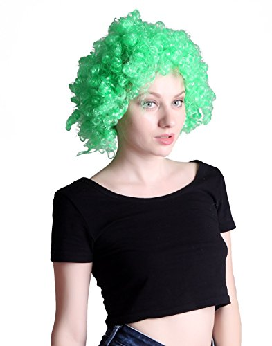 [HDE Neon Color Afro Curly Clown Halloween Costume Party Wig Fake Goofy Unisex Hair (Lime Green)] (Neon Green Wigs)