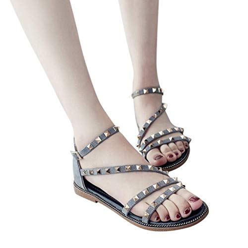Hilotu Women's Strappy Buckle Accent Zip Heel Flat Sandal Rivets Summer Dress Shoes Low Heel Sandals Stylish Thong Ultra Comfort Slippers Toe Loop Flat Sandals (Color : Gray, Size : 6 M US)