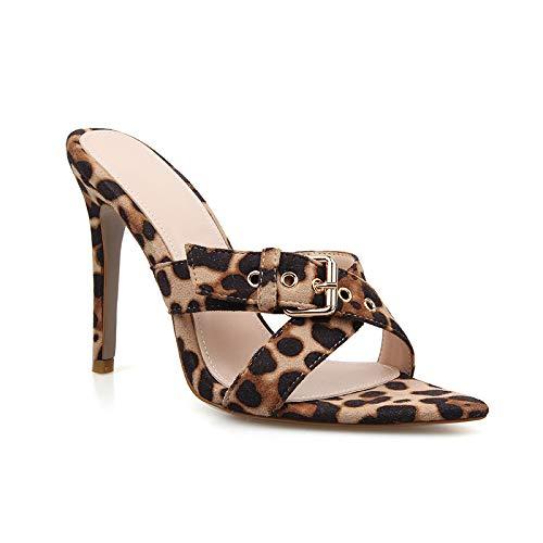 8abf4984858 Amazon.com | perixir Summer Style Women Leopard High Heels Mules ...