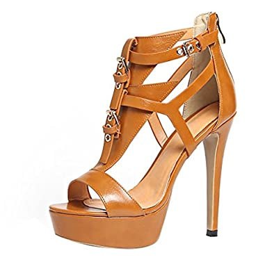 Calaier Womens Catxap Open-Toe 12CM Stiletto Zipper Sandals Shoes