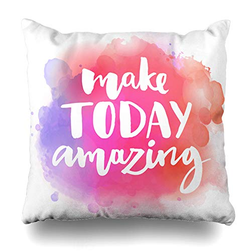 DIYCow Throw Pillow Covers Nice Monday Make Today Amazing Inspirational Quote Slogan Motivate Day Saying Morning Good Home Decor Pillowcase Square Size 20 x 20 Inches Zippered Cushion Case