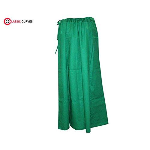 CLASSIC CURVES Saree Coton Vert Underskirt des Femmes Indiennes Taille Libre Readymade Inskirt Peticoat Vert