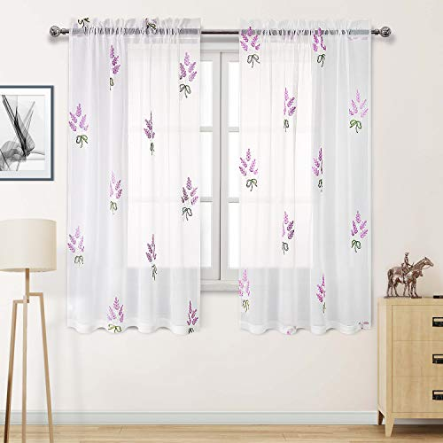 DWCN Faux Linen White Sheer Curtains Embroidered Lavender Flower Pattern Living Room Curtains, 52 x 63 inch, Set of 2 Curtain Panels (Curtains Flower)