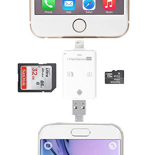 rice power MemoryCard Reader Lightning iFlash Drive USB SDHC Micro SD OTG Card Adapter for iPhone 6S 6S plus 6 6 plus iPad Samsung Huawei PC Tablet by rice power (Image #5)
