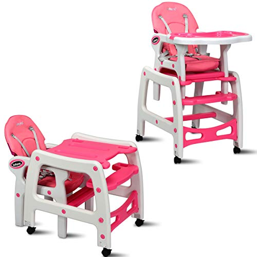 INFANS 3 in 1 Baby High Chair, Convertible Toddler Table Chair Set, Rocking Chair, Multi-Function Seat with Lockable Universal Wheels, Adjustable Seat Back, Removable Trays, 6 Months & up, Pink (Dining In 1 3 Table)