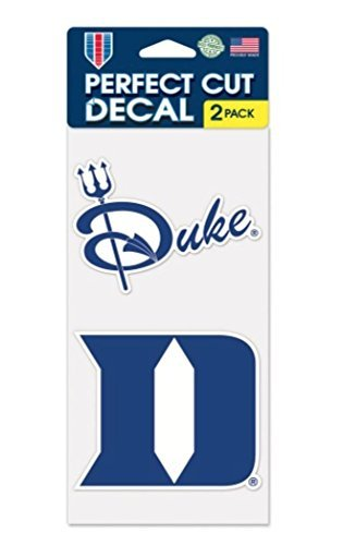 NCAA Duke University Blue Devils 4 x 8 Set of Two Perfect Cut Decals