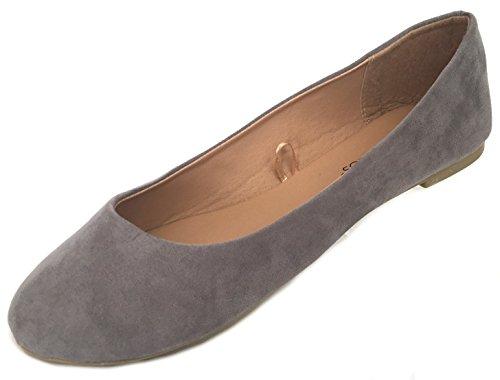 Zapatos8teen Zapatos 18 Mujer Faux Suede Rhinestone Ballerina Ballet Flats Zapatos 4055a Gris / Claro