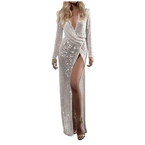 POQOQ Evening Gown Women Summer Long Sleeve V- Neck Sequin Formal Cocktail Dress(White,XL)