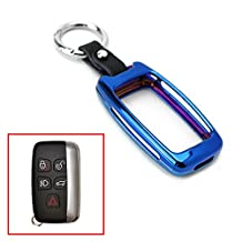 iJDMTOY (1) Neo Chrome Blue Alloy Metal Key Fob Cover For 2010-16 Land Rover Ranger Rover, Range Rover Sport, LR4 Discovery Evoque, 2011-up Jaguar XE XJ XF F-Type F-Pace (Please verify before buying)