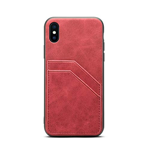 (TACOO Slim Cellphone Cover for Apple iPhone XS/10,Leather Soft PU Protective Credit Card Holder Women Girl Durable Red Case Shell Compatible with iPhone X 2017 5.8 Inch,iPhone Xs 2018 5.8 Inch)