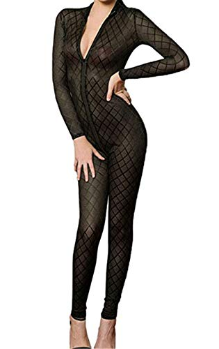 Opaque Front Zip Vertical Stripes Spandex Zentai Catsuit Bodysuit Night Club - Opaque Stripes Vertical