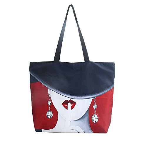 (Newplenty Ladies Zippered Light Shoulder Shopping Tote Bag Handbag Beach Satchel (Pretty Lady))