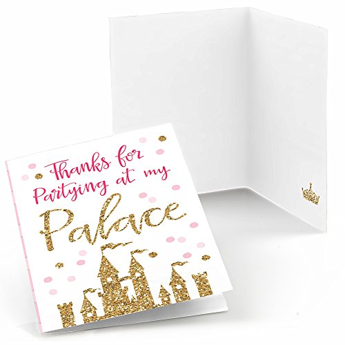 Little Princess Crown - Pink and Gold Princess Baby Shower or Birthday Party Thank You Cards (8 Count)