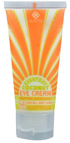 Alaffia Everyday Coconut Nourishing Eye Cream, 3 oz 1 100% fair trade ingredients. Renews and repairs the delicate skin around eyes overnight. Reduces the appearance of lines and wrinkles.