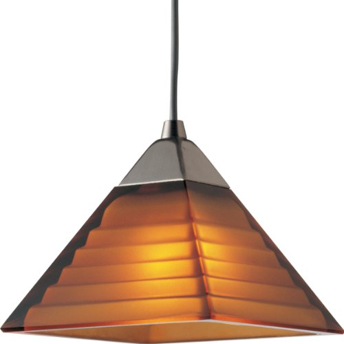 progress lighting p6139 09a 12 volt low voltage t4 mini pendant with pyramid amber glass brushed nickel ceiling pendant fixtures amazoncom amber pendant lighting