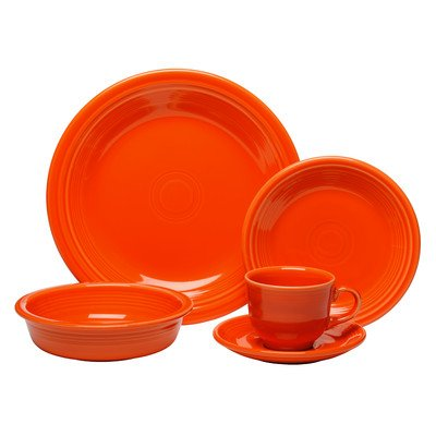 5 Setting Piece Orange Place - Fiesta 338-830 5 Piece Place Setting, Poppy