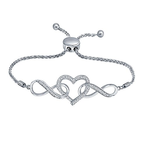 1/7ct Round White Diamond Sterling Silver Adjustable Infinity Heart Strand Bolo Bracelet For Women Teens