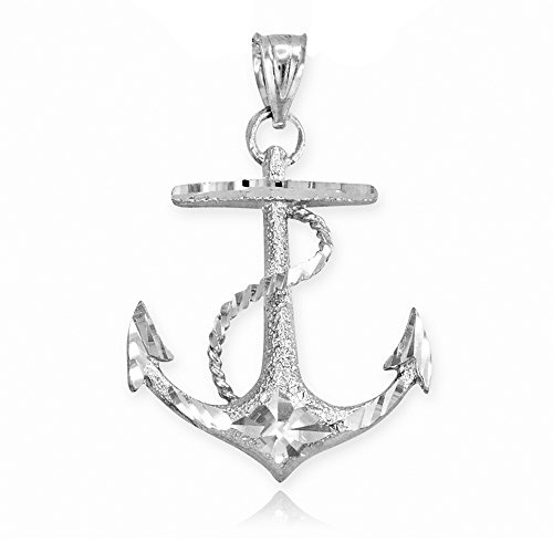 (Textured 14k White Gold Fouled Anchor Necklace Pendant)