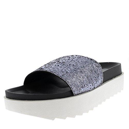 Mujer Sandalias Verano Ponerse Correa Resplandecer Gris Plataforma Zapatos Moda rYxqr4WSwz