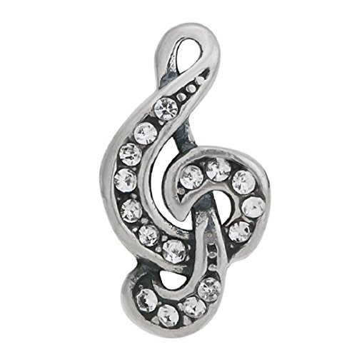 Sterling Silver Musical Notes Charm (925 Sterling Silver Charms Music Musical Note Clear)