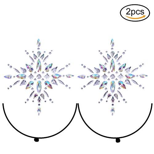 Xiangfeng Crystal Nipple Sticker Rhinestone Body Jewelry Stick On Women Bra Breast Pasties Temporary Tattoos 2 pcs
