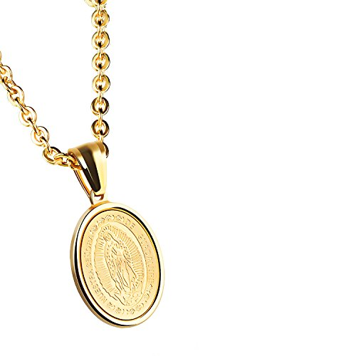 Small Oval Necklace - Unisex Mens Womens Guadalupe Medal Catholic Stainless Steel Oval Pendant Necklace High Polish