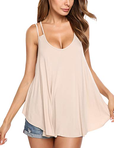 (Zeagoo Women's Flowy V Neck Casual Sexy Summer Tank Top Apricot,X-Small(US-S))