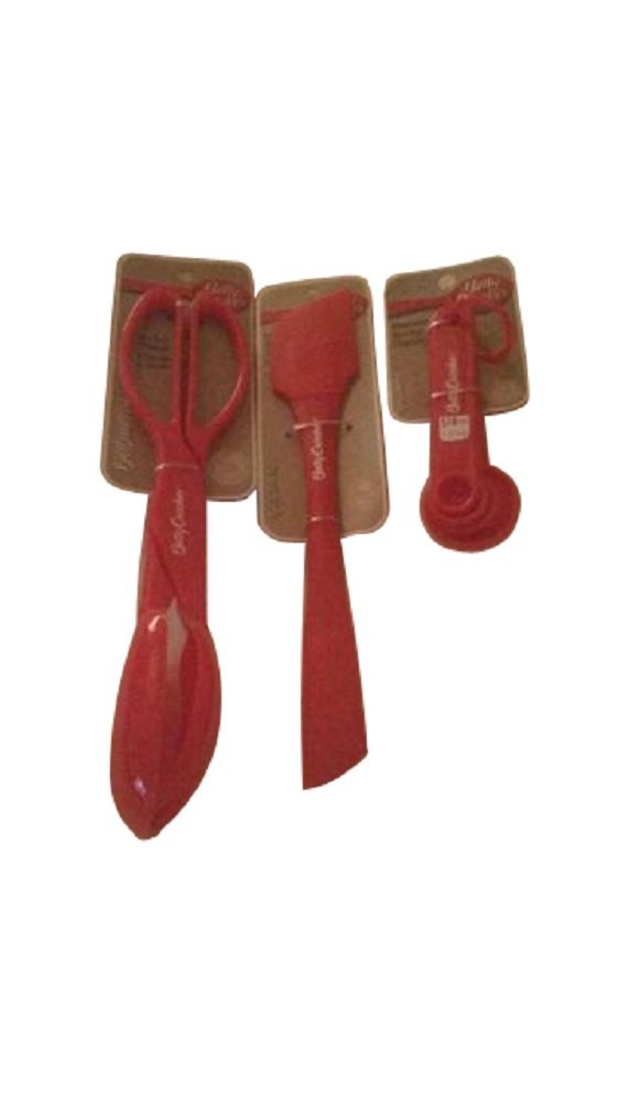 Betty Crocker 3 Piece Kitchen Essentials Set in Red Spatula Measuring Spoon Set and Salad Tong (Bundle)
