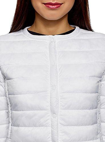 Scollo Oodji Bianco Donna Con 1000n Rotondo Trapuntato Ultra Giubbotto 1XPAFq