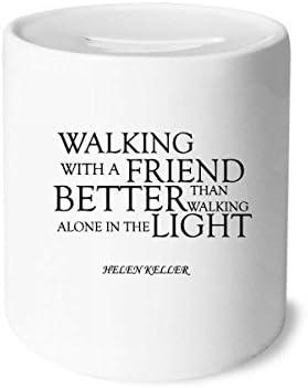 DIYthinker Cita sobre Amistad de Helen Keller Caja de Dinero de Las Cajas de ahorros de cerámica Adultos Moneda de la Caja para niños: Amazon.es: Juguetes y juegos