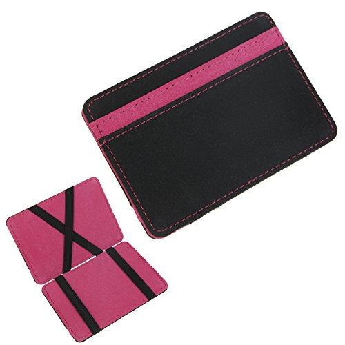 DKER Money Clip Magic Leather Wallet Holder Billfold Credit ID Card Case - Purple - Id Flap Card Case