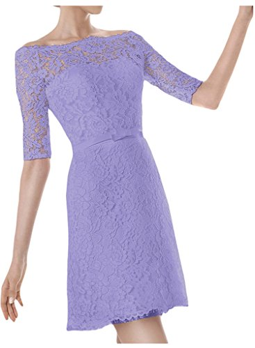 Ivydressing U Abendkleid Brautkleid Aermel Halb Lavendel Hochzeitskleid Ausschnitt Kurz Damen TT7Z6