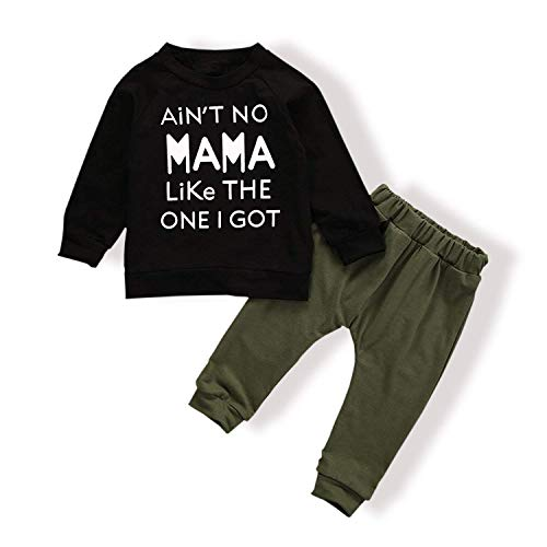Baby Boy Clothes Funny Letter Printed Tops Leggings Pants Outfits Set for Toddler Boys(12-18 Months) ArmyGreen
