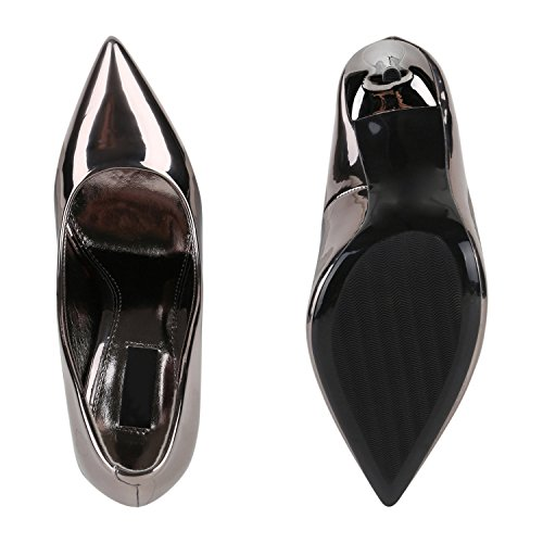 Stiefelparadies Spitze Damen Pumps Stiletto High Heels Lack Leder-Optik Schuhe Elegante Absatzschuhe Party Abendschuhe Abiball Flandell Grau Metallic