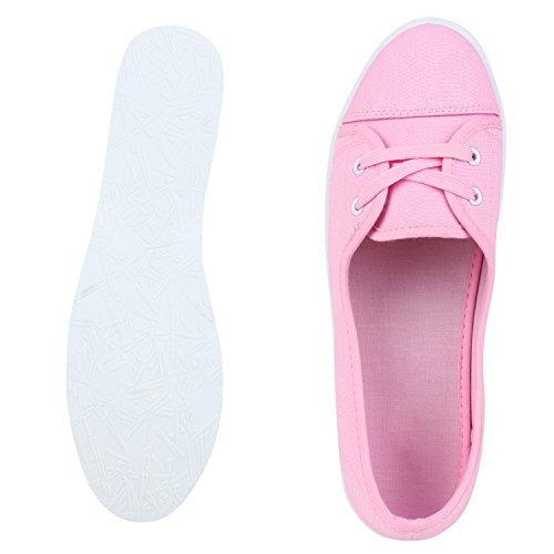 Sportliche Damen Ballerinas Bequeme Basic Schuhe Stoff Flats Aus angenehmen Obermaterial Gr. 36-41 Rosa