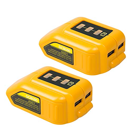 LiBatter 2 USB Ports Compatible with Dewalt DCB090 USB Power Source Compatible Adapter with 14.4V and 20V Lithium Batteries Adapter
