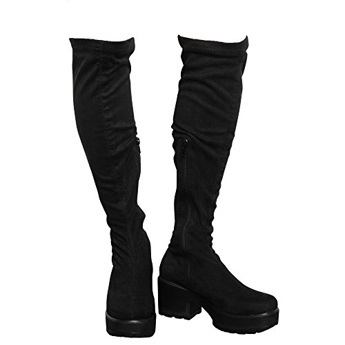 CORE COLLECTION Womens Girls Kids Zip up Block MID Heel Platform Over The Knee Stretch Boots Size 10-5 Black