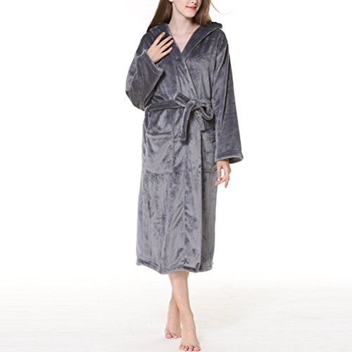 Zhhlaixing Hombres Mujeres Plus Size Supersoft Fleece Flannel Shawl Collar Hooded Bath Bata Dressing Gown Albornoces Housecoat para Shower SPA Hotel: ...