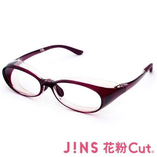 【JINS 花粉Cut(R)】花粉最大98%カット! 異物からスタイリッシュに眼を守るメガネ オーバル(度なし)WINE