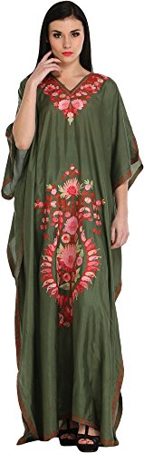 (Exotic India capulet-Olive Ari Embroidered Kaftan From Kashmir - Green)