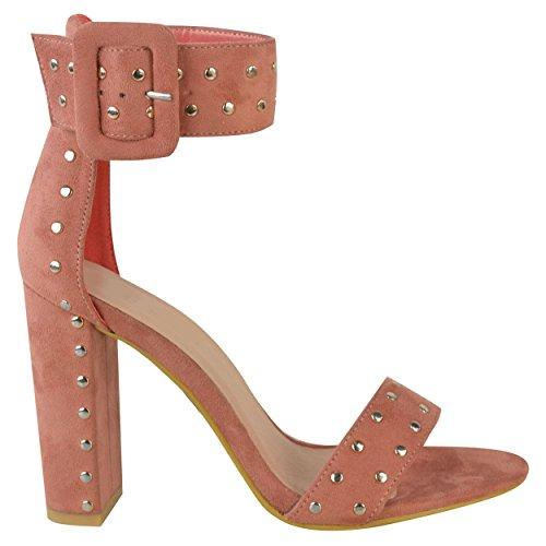 Miss IMAGE UK Mujer Tacón Alto en bloque ABIERTO Correa Tobillo Peep Toe Sandalias Con Tachuelas Zapatos Fiesta Talla rosa colorete Ante Artificial