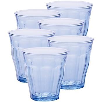 Duralex Made In France Picardie Marine Glass Tumbler (Set of 6) 11 oz, Blue