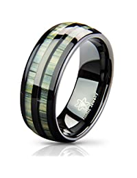 Atomic Jewelry Split Zebra Tungsten Carbide Wedding Band Ring with Real Bamboo Wood
